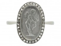 Edwardian Diamond & 18ct White Gold Rock Crystal Cupid with Bow Ring