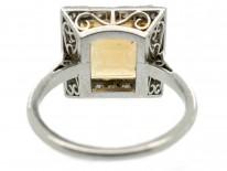 Art Deco Square Topaz & Diamond Ring