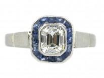 Art Deco 18ct White Gold Sapphire & Diamond Ring
