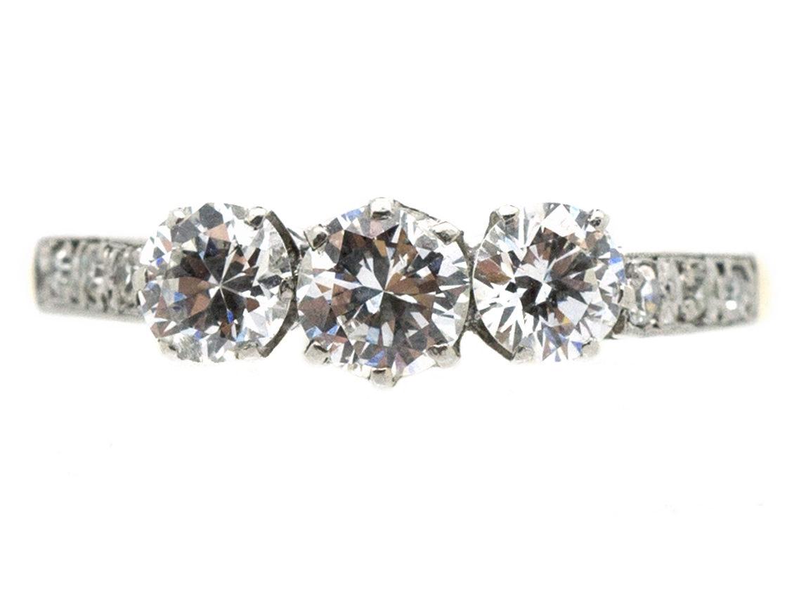 18ct Gold & Platinum Diamond Three Stone Ring with Diamond Set Shoulders