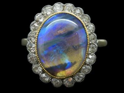 Edwardian 18ct & Platinum Black Opal & Diamond Ring