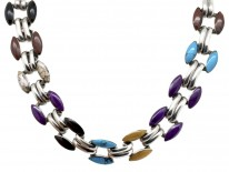 Mexican Silver & Coloured Stones Necklace