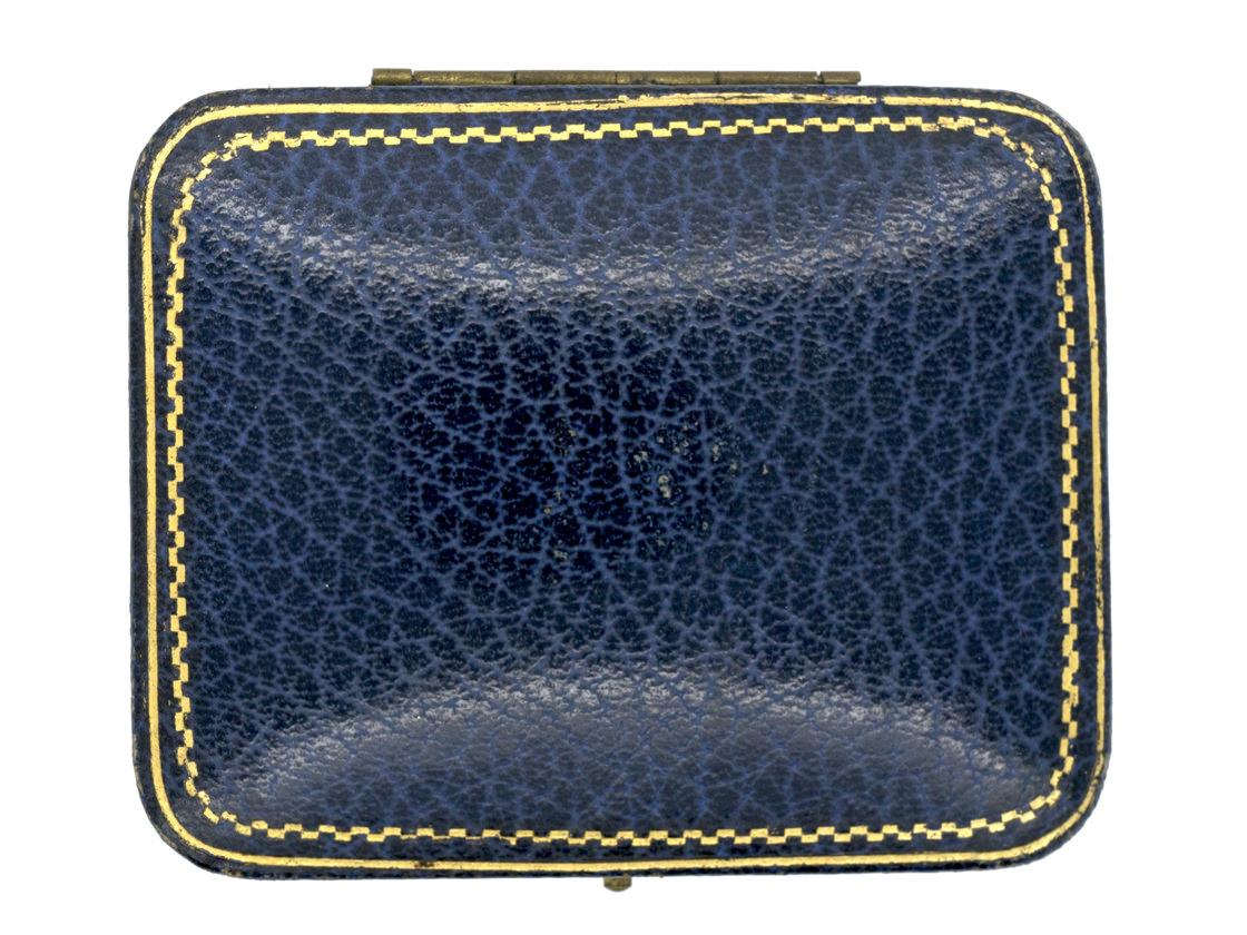 Art Deco 9ct White Gold & Sapphire Cufflinks Studs & Buttons Set in Original Case