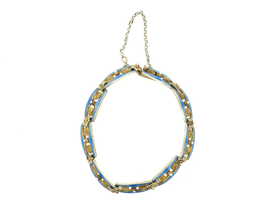 Norwegian Silver Gilt & Blue Enamel Bracelet by Marius Hammer