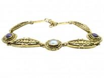 French 18ct Gold Amethyst & Moonstone Belle Epoque Bracelet