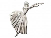 1950s Silver Ballerina Brooch