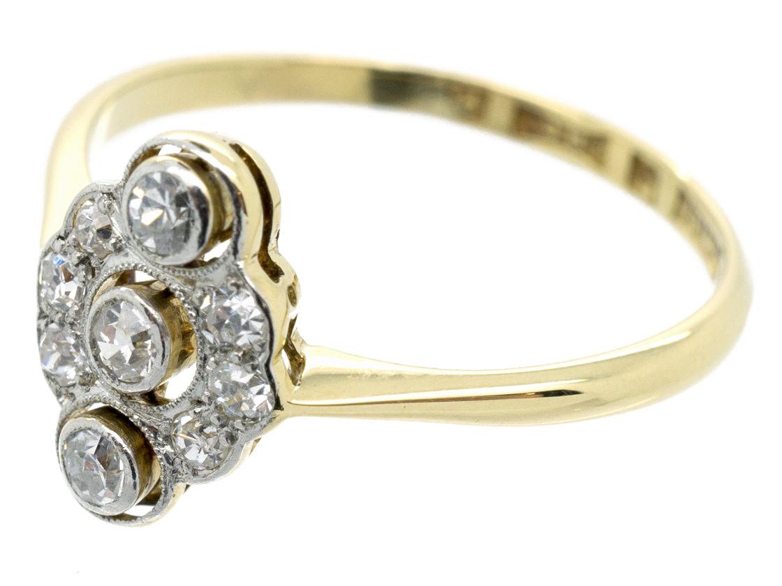 Art Deco Oval Diamond Cluster Ring