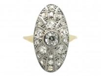 Art Deco 14ct Gold Oval Starburst Design Diamond Ring