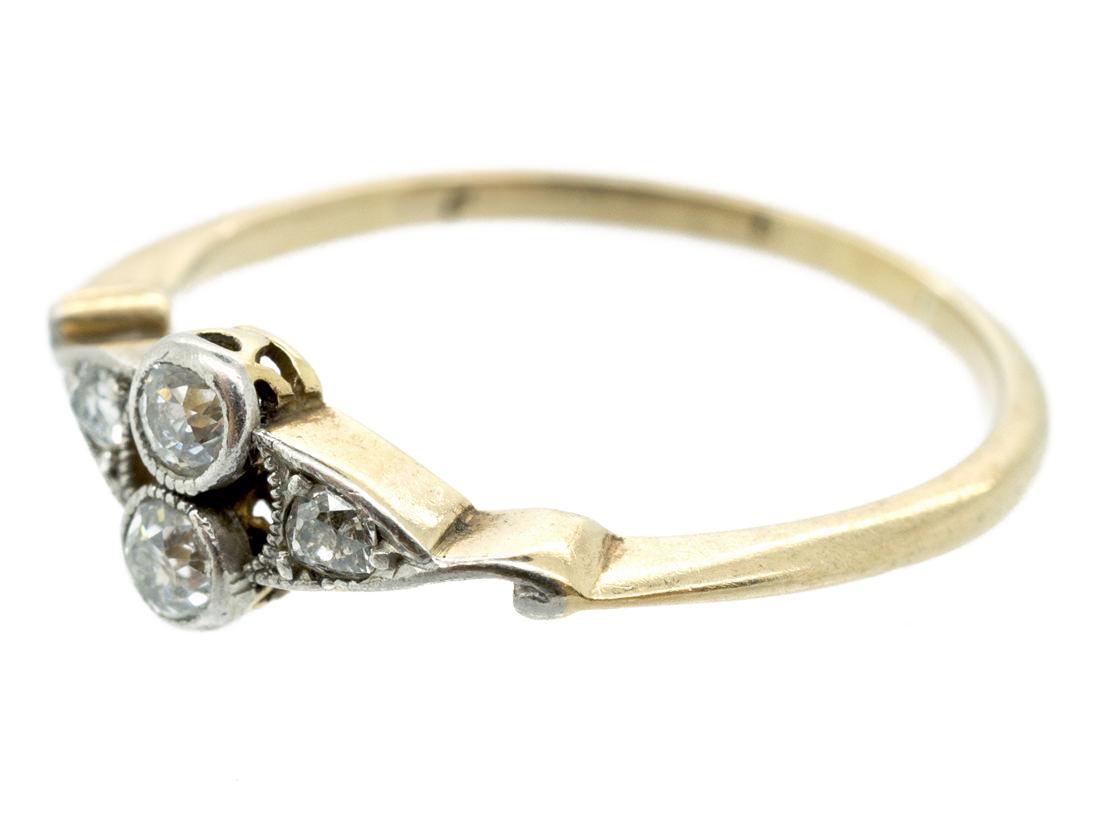 Art Deco Two Stone Diamond Ring with Diamond Twist Shoulders