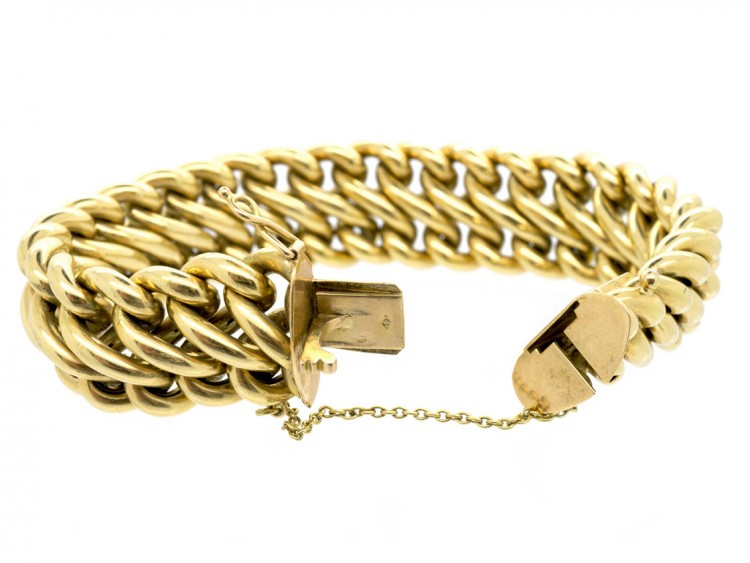 French 18ct Gold Wide Woven Curb Bracelet