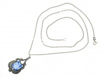 Art Deco Silver Blue Paste & Marcasite Pendant on a Silver Chain