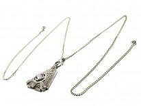 Art Deco Silver & Amethyst Pendant on Silver Chain