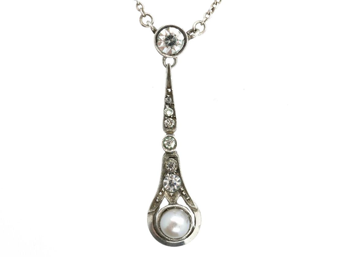 Art Deco Silver, Paste & Cultured Pearl Pendant on Silver Chain