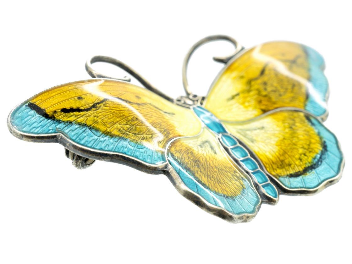 Silver, Yellow & Blue Enamel Butterfly Brooch