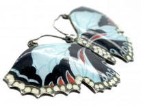 Silver Blue, White, Red & Black Butterfly Brooch