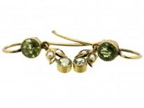 Edwardian Peridot & Natural Split Pearl Drop Earrings