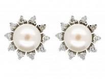 18ct White Gold Pearl & Diamond Cluster Earrings
