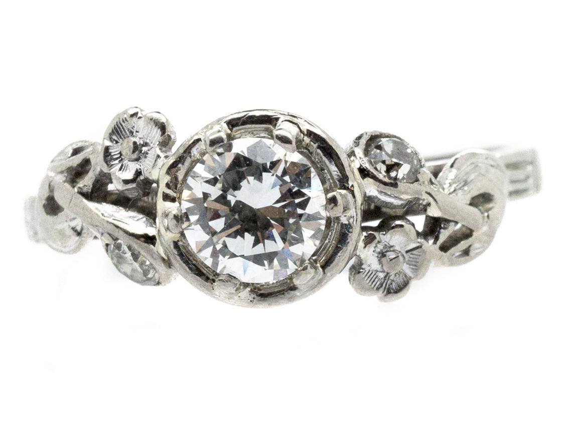 18ct White Gold & Diamond Solitaire Ring with Diamond Flower Shoulders