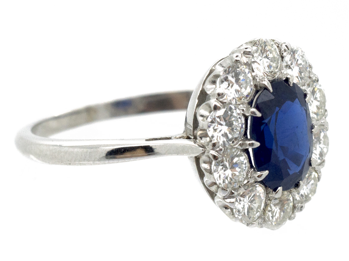 Platinum Sapphire & Diamond Cluster Ring