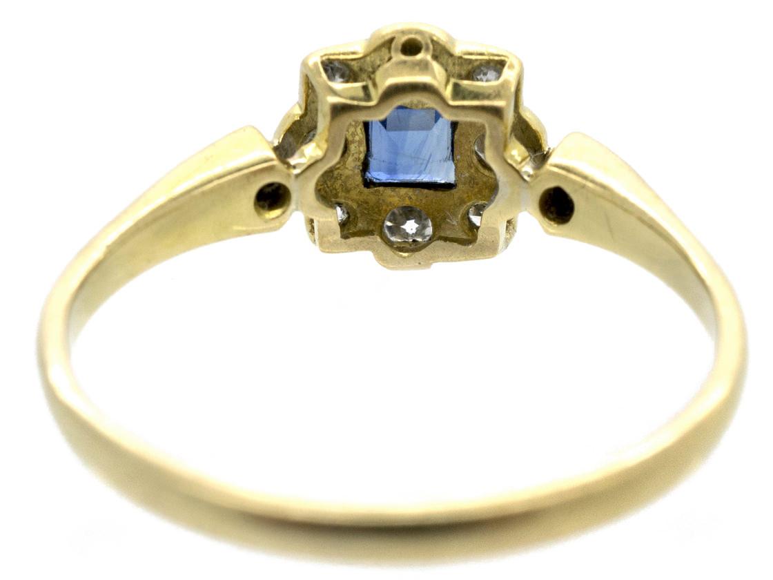 Art Deco 18ct Gold & Platinum Sapphire & Diamond Ring