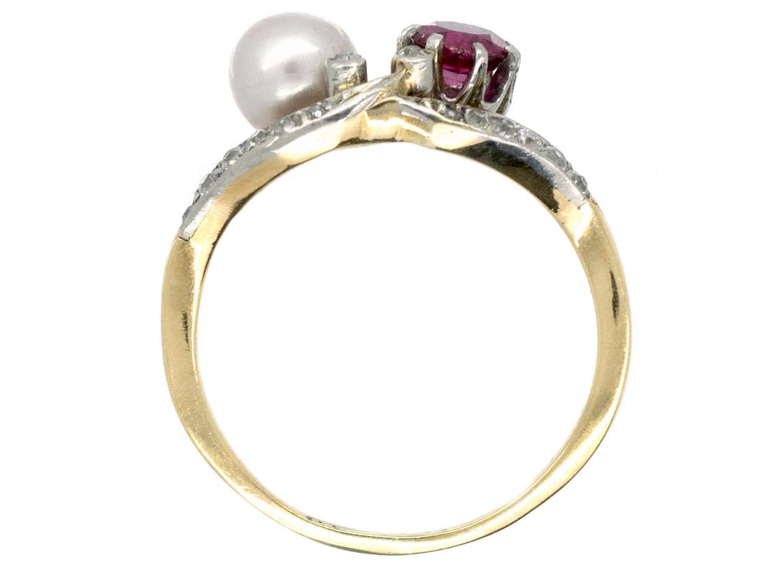 18ct Gold & Platinum Art Nouveau Ruby, Natural Pearl & Diamond Ring