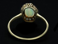 Edwardian 18ct Gold Oval Cluster Ring Set With an Opal & Rose Diamonds