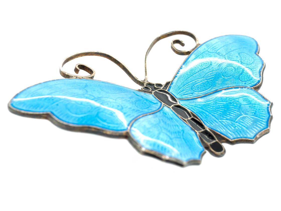 Silver & Turquoise Blue Enamel Brooch by David Andersen