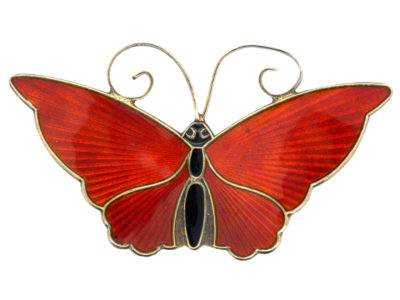 Silver & Red Enamel Butterfly Brooch by David Andersen