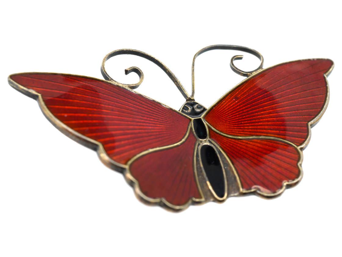 Silver & Red Enamel Butterfly Brooch by David Andersen