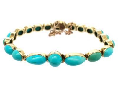 Edwardian 15ct Gold Turquoise Line Bracelet
