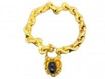 Victorian 18ct Gold Bracelet with Cabochon Garnet Padlock
