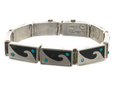 Mexican Silver Wave Design Bracelet set with Turquoise