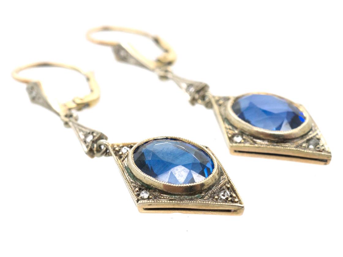 Art Deco Synthetic Sapphire & Diamond Drop Earrings