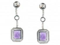 Amethyst & Diamond Drop Earrings by Adler