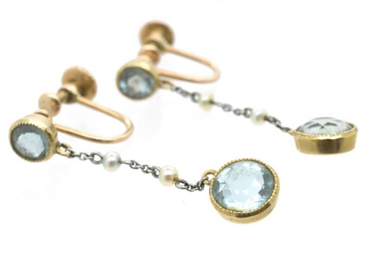 Edwardian 15ct Gold, Aquamarine & Natural Pearls Drop Earrings