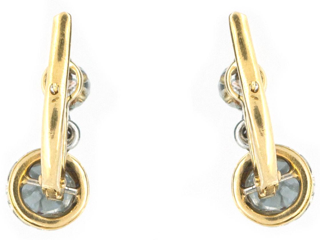 French Double Diamond Drop Earrings