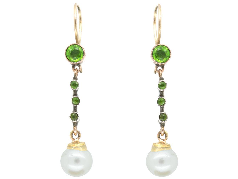 Edwardian 9ct Gold Peridot & Pearl Drop Earrings