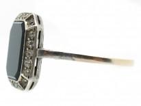Art Deco Paste & Octagonal Onyx Ring