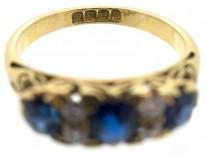 Victorian 18ct Gold Three Stone Sapphire & Diamond Ring
