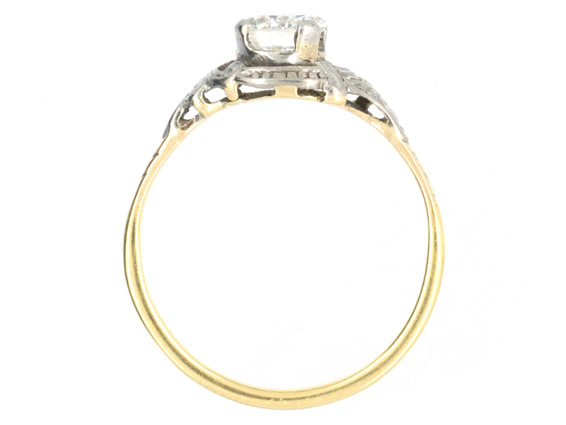 Art Deco Diamond Solitaire Ring with Decorated Shoulders