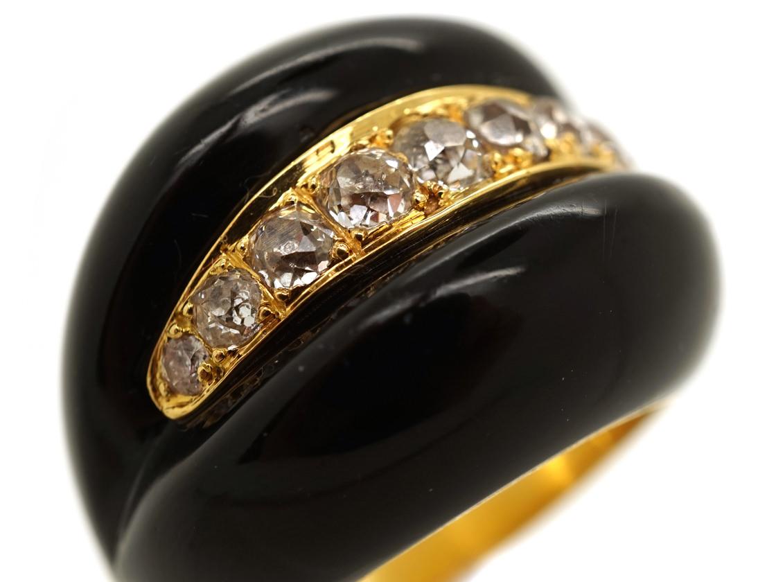 Large Victorian Diamond & Onyx Ring