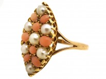Victorian 9ct Gold Coral & Natural Split Pearl Marquise Ring