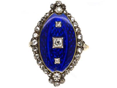 Georgian Royal Blue Enamel & Diamond Navette Shaped Ring