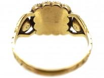 Georgian 15ct Gold Flat Cut Garnet & Natural Split Pearl Ring