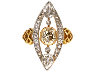 Art Deco Diamond Marquise Ring set with a Central Fancy Brown Cinnamon Diamond