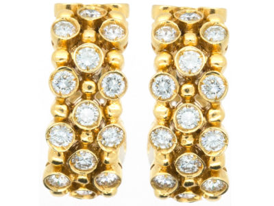 High Carat Gold Diamond Hoop Clip On Earrings
