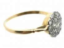 Edwardian 18ct Gold & Platinum Diamond Pave Set Cluster Ring