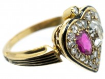 Victorian 18ct Gold Diamond & Ruby Double Heart Ring within a Spade