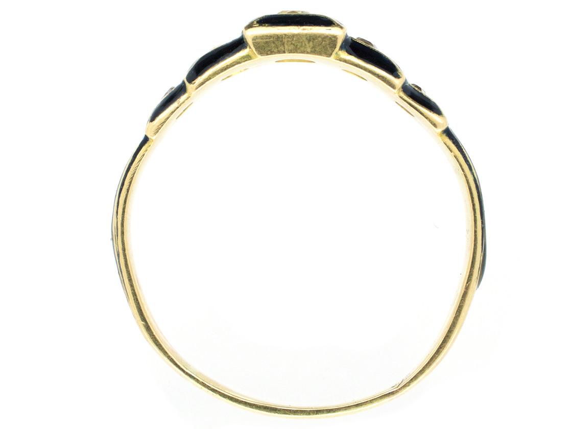 Victorian 18ct Gold Black Enamel & Diamond Five Stone Ring