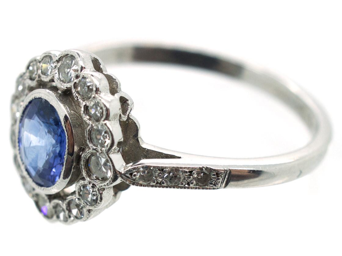 Ceylon Sapphire & Diamond Cluster Ring with Diamond Shoulders